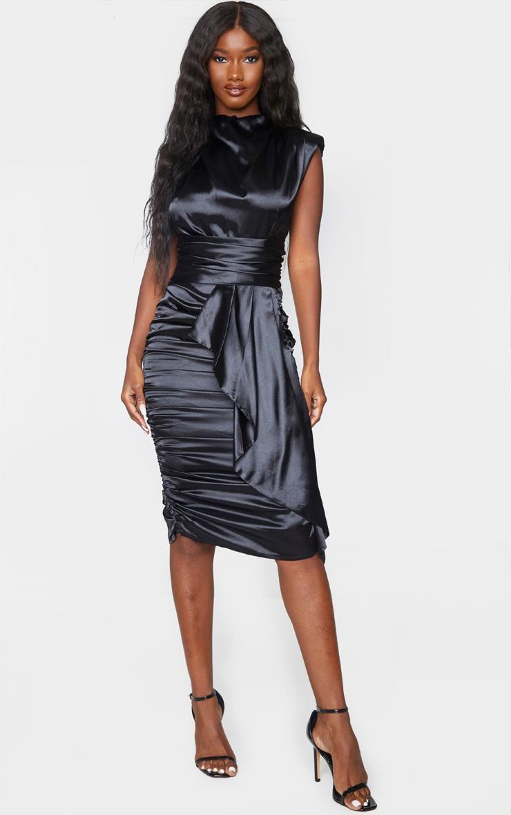Black Satin Ruched Draped Midi Dress 1