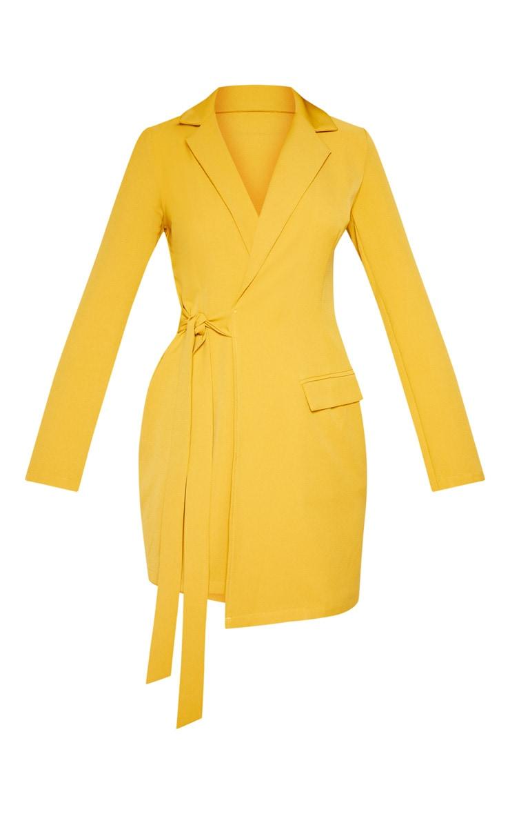 Mustard Tie Detail Blazer Dress 4