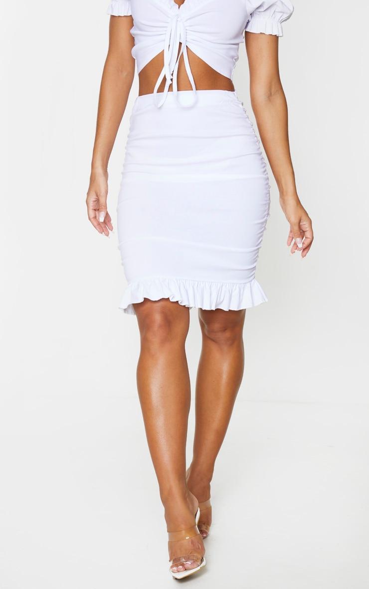 White Woven Stretch Ruched Side Frill Hem Mini Skirt 3