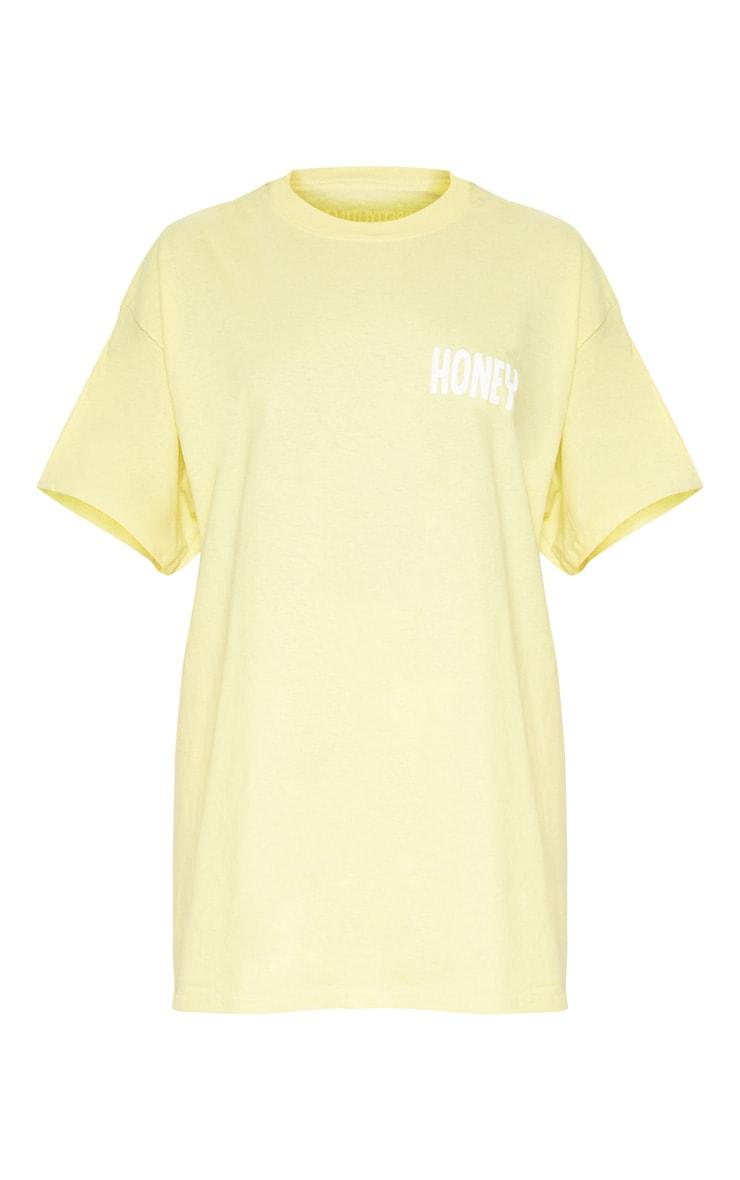 Yellow Honey Slogan Oversized T Shirt  3