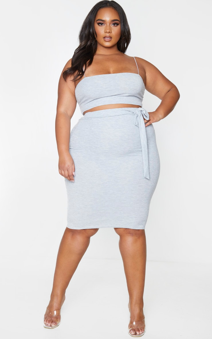 Plus Grey Soft Rib Midi Skirt 1