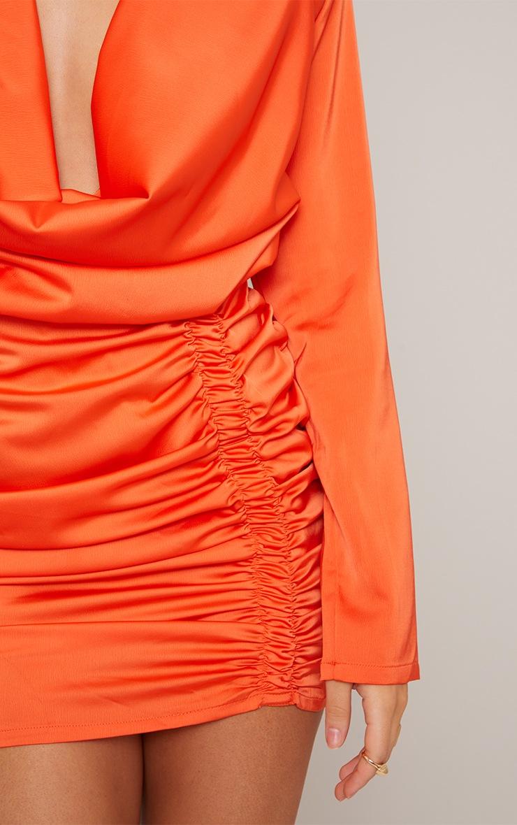 Orange Satin Cowl Neck Shoulder Pad Bodycon Dress 4