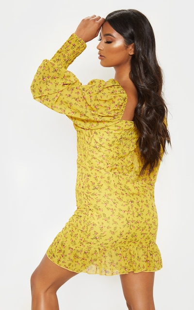 Mustard Ditsy Floral Tie Bust Shirred Frill Bodycon Dress