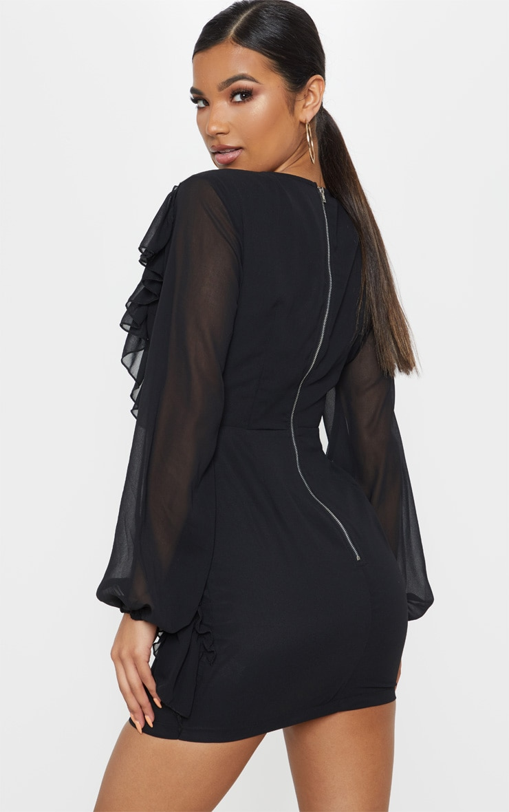 Black Chiffon Frill Detail Bodycon Dress 2