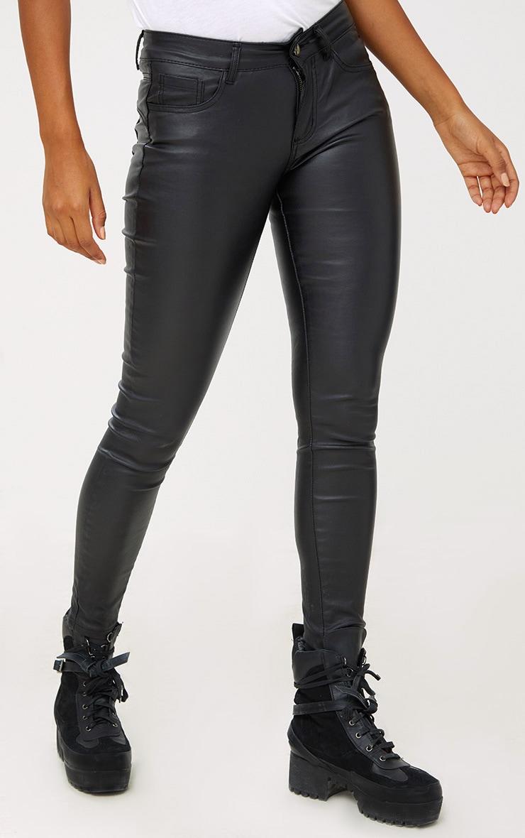 Black Coated Denim 5 Pocket Skinny Jean 2