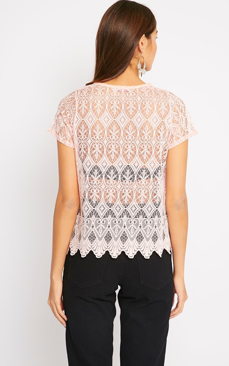 Nina Pink Scallop Trim Lace Top  2