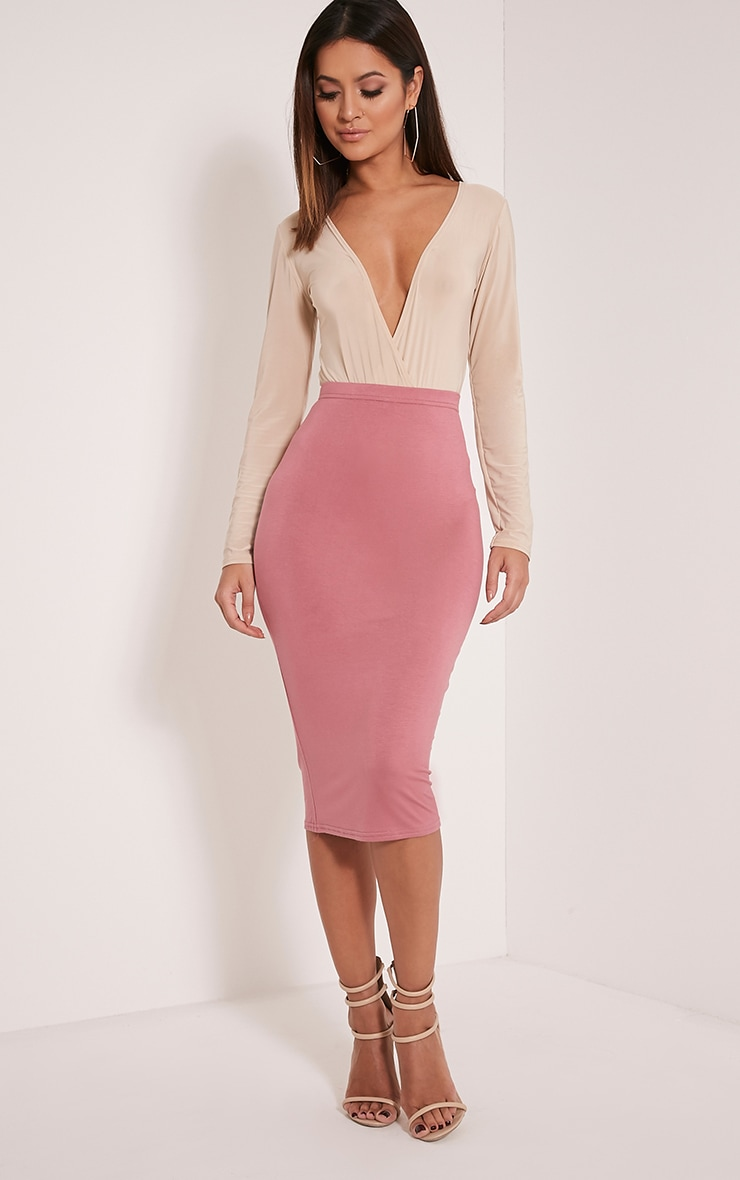 Basic jupe midi rose 1