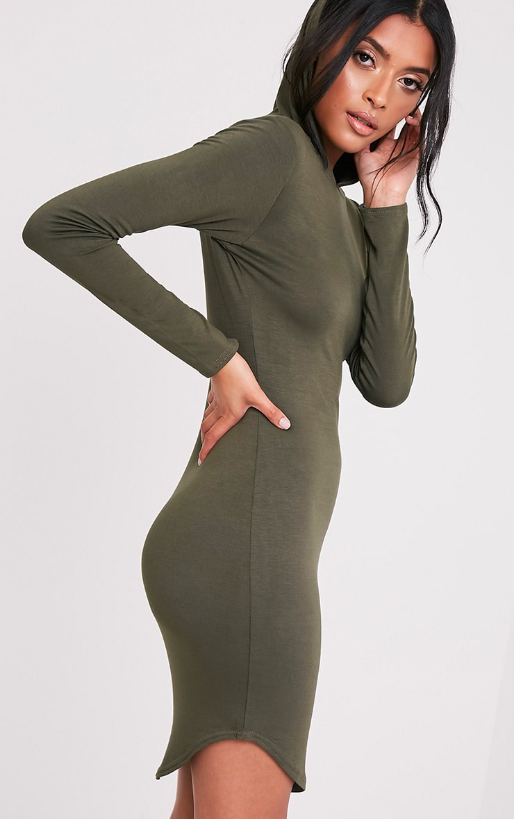 Daysie Khaki Curved Hem Hooded Bodycon Dress 1