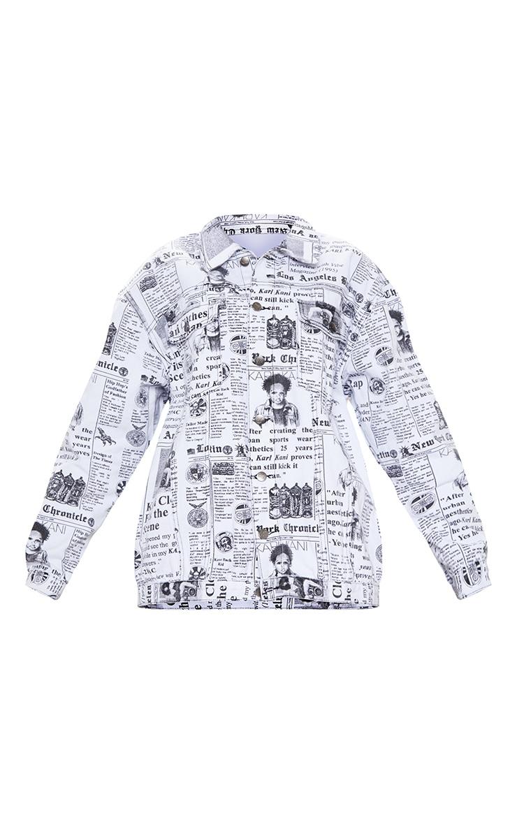 KARL KANI Monochrome Newspaper Oversized Denim Jacket 5