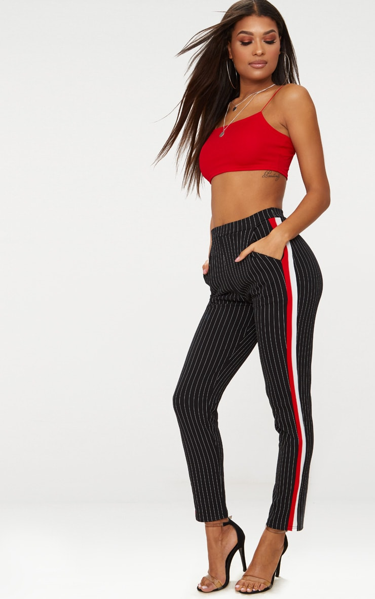 Black Sport Stripe Cigarette Trousers