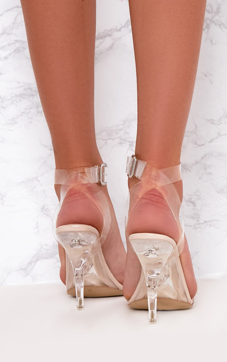 Nude Clear Strap Heeled Sandals  4