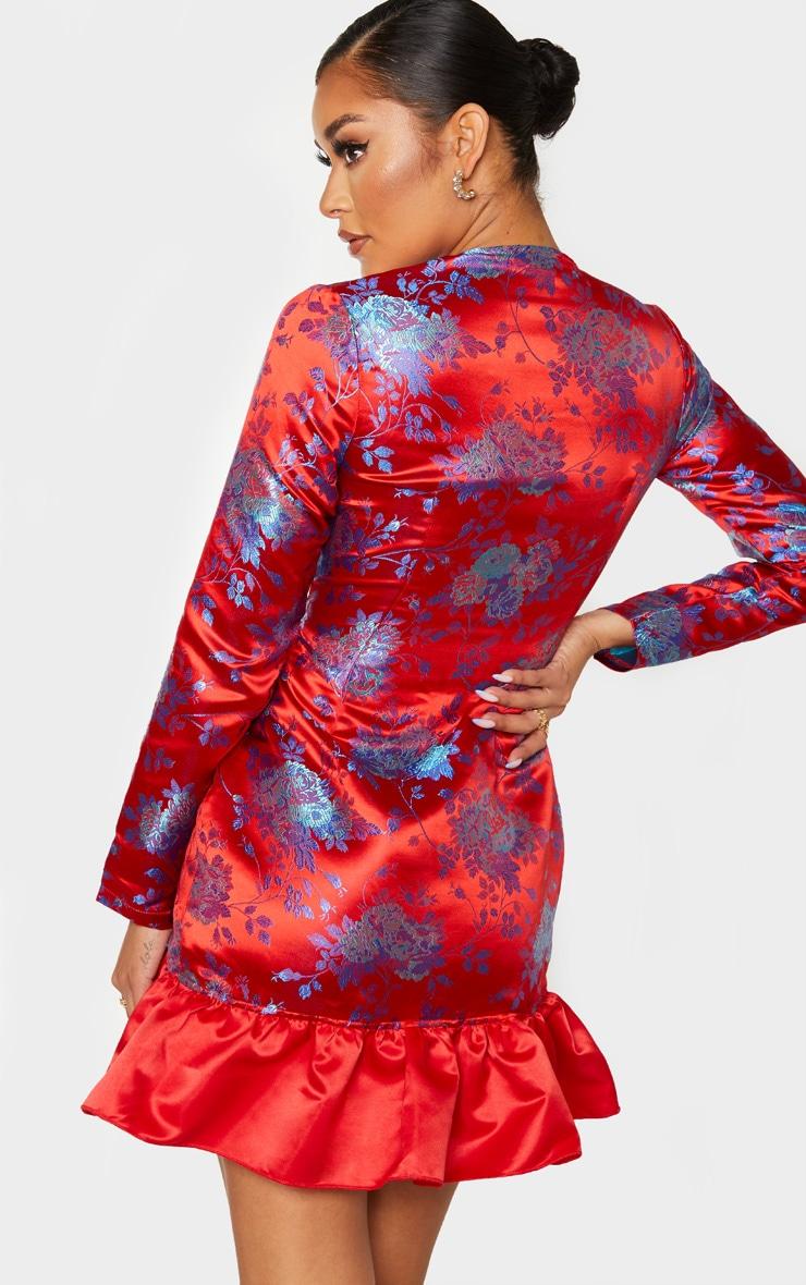 Red Oriental Jacquard Frill Detail Blazer Dress 2