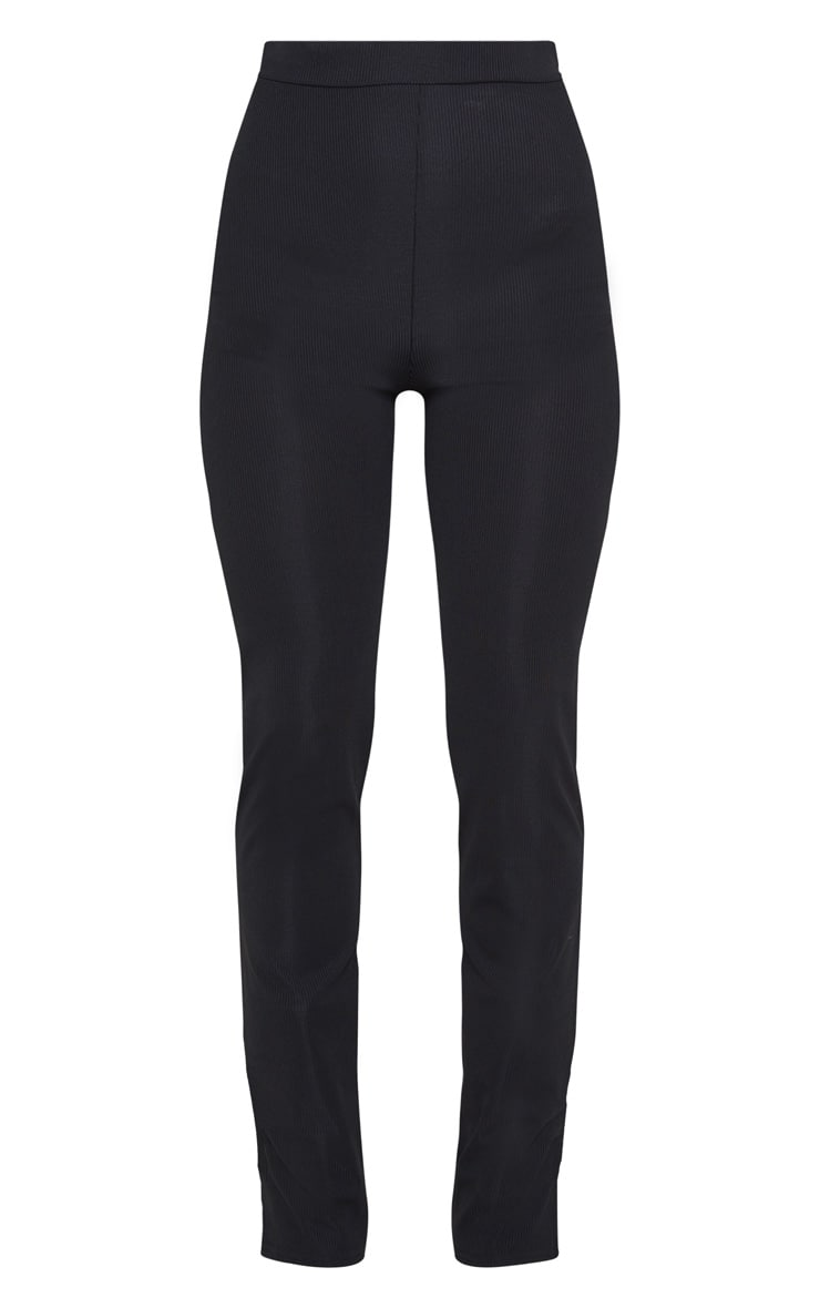 Black Ribbed Skinny Split Hem Trouser 3