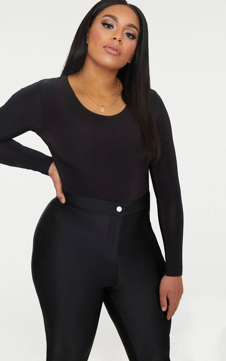 Plus Black Second Skin Long Sleeve Thong Bodysuit 1