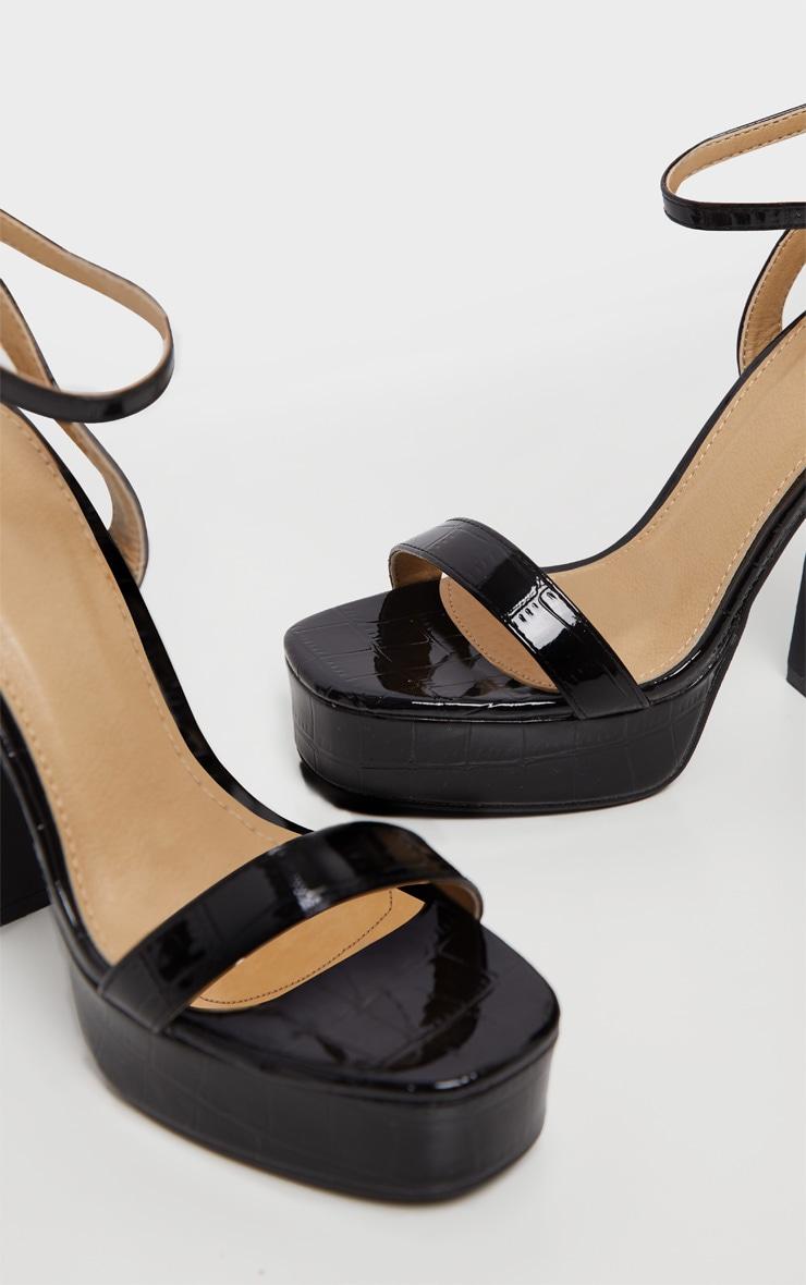 Black Platform High Strappy Sandal 5