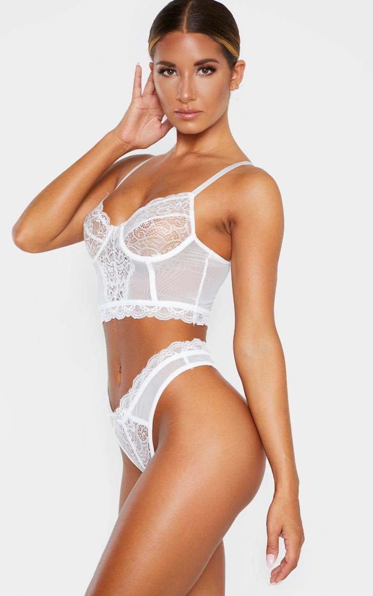 White Lace Mesh Thong 2