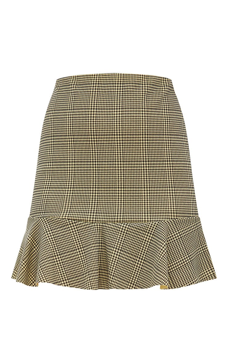 Yellow Dogtooth Flippy Hem Mini Skirt  3