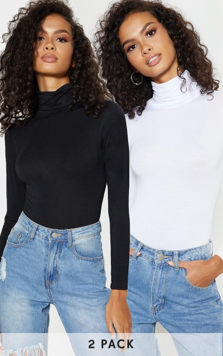 Basic Black & White 2 Pack Roll Neck Long Sleeved Bodysuit 1