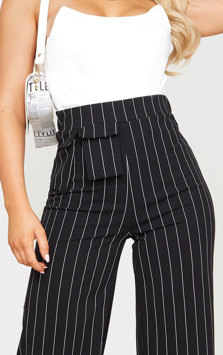 Black Pinstripe Pocket Detail Crepe Wide Leg Trousers 5