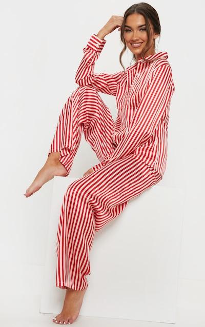 Red   White Stripe Wide Leg PJ Set bdf37798e