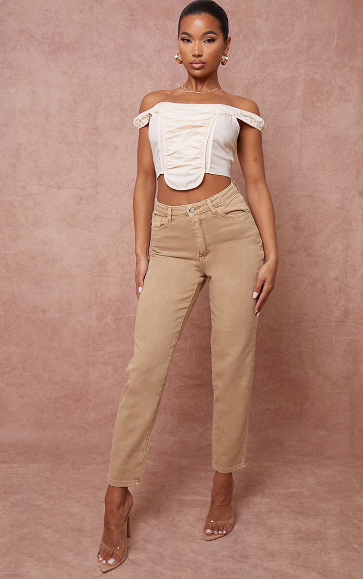 PRETTYLITTLETHING Tan Mom Jeans 1