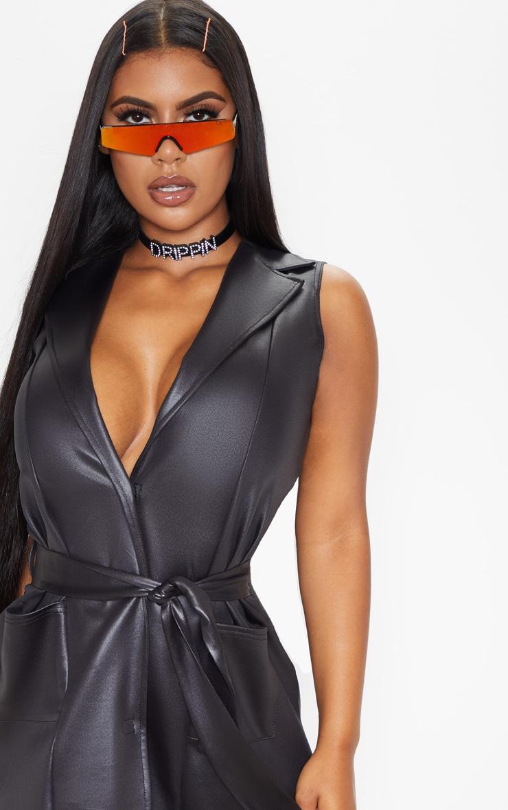 Black PU Sleeveless Tie Waist Blazer Dress 5