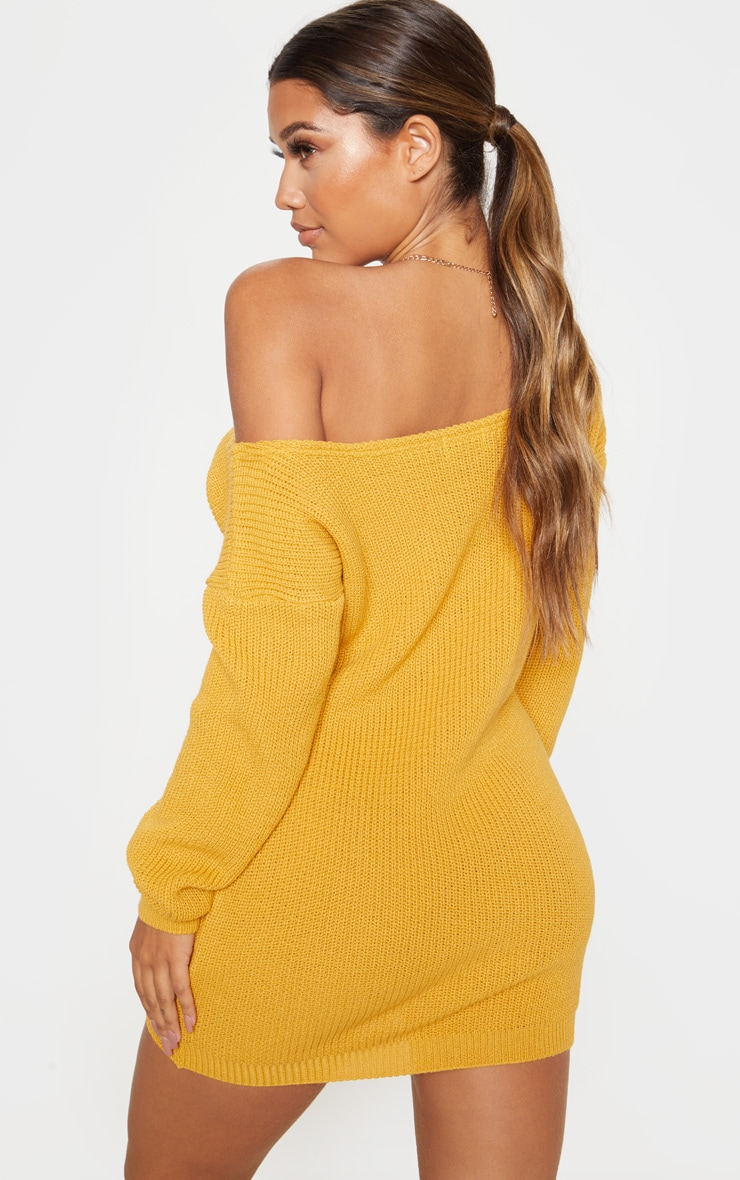 Mustard Off The Shoulder Knitted Dress 2