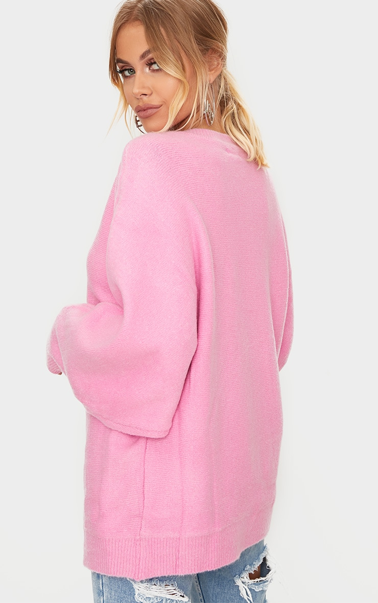 Pink Oversized Knitted Jumper 2