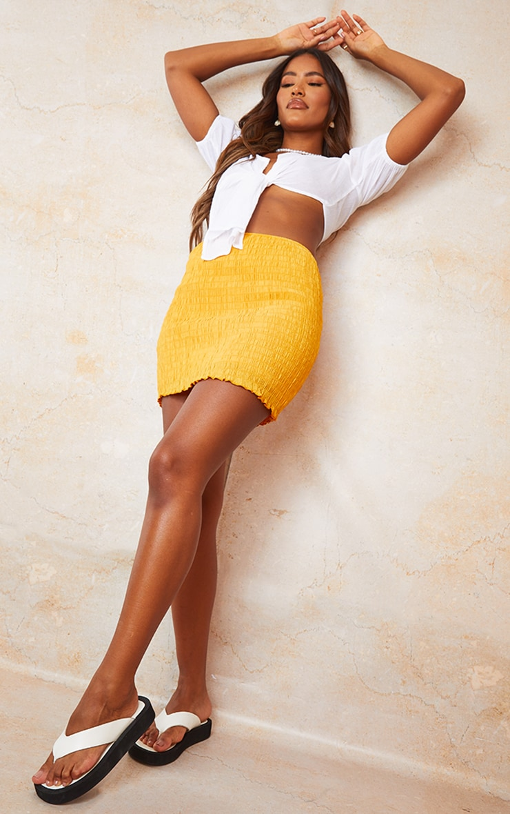 Bright Orange Shirred Textured Mini Skirt 4