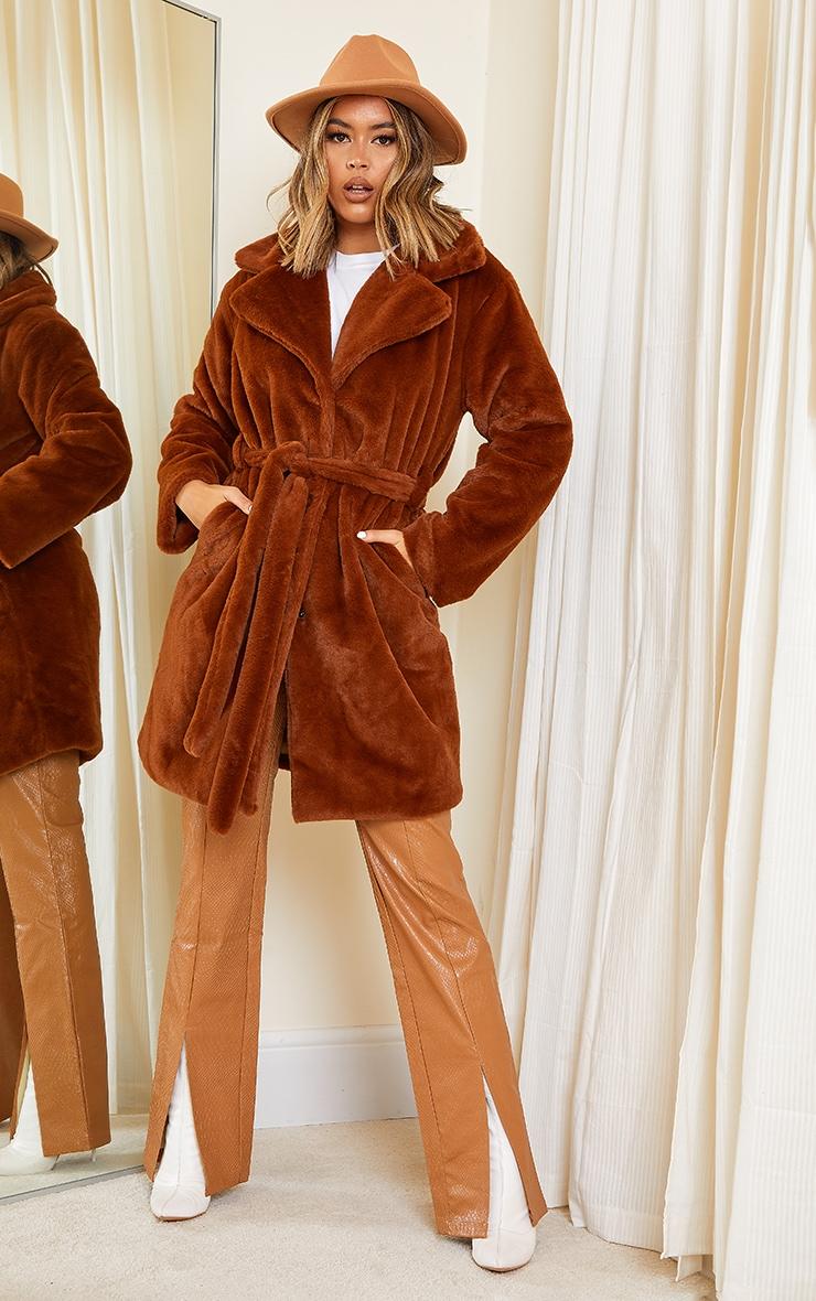 Tan Soft Faux Fur Belted Midi Coat 1