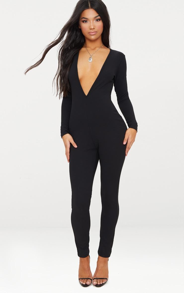 Black Crepe Plunge Long Sleeve Jumpsuit 1