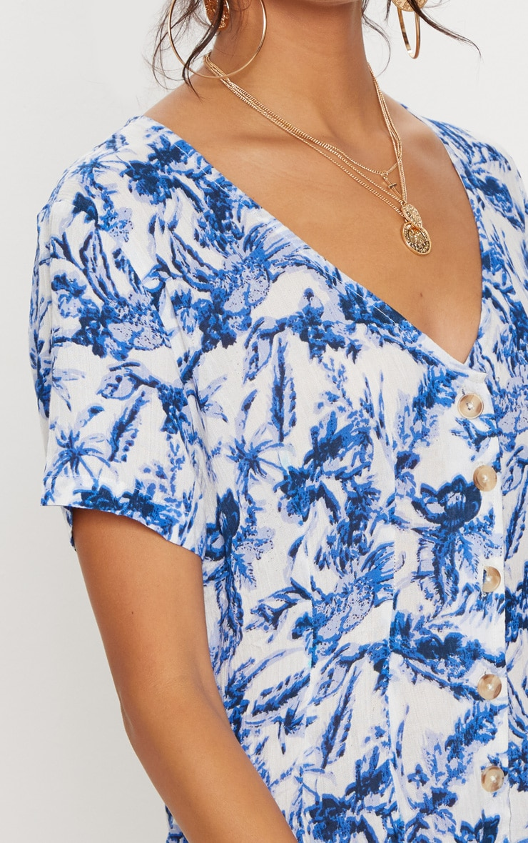 Blue Floral Short Sleeve Button Through Playsuit 5