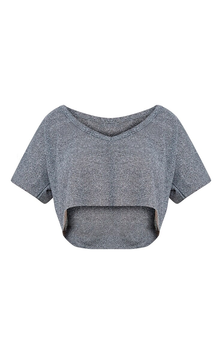 Grey Lightweight Knit Slouch V Neck Crop Top  3