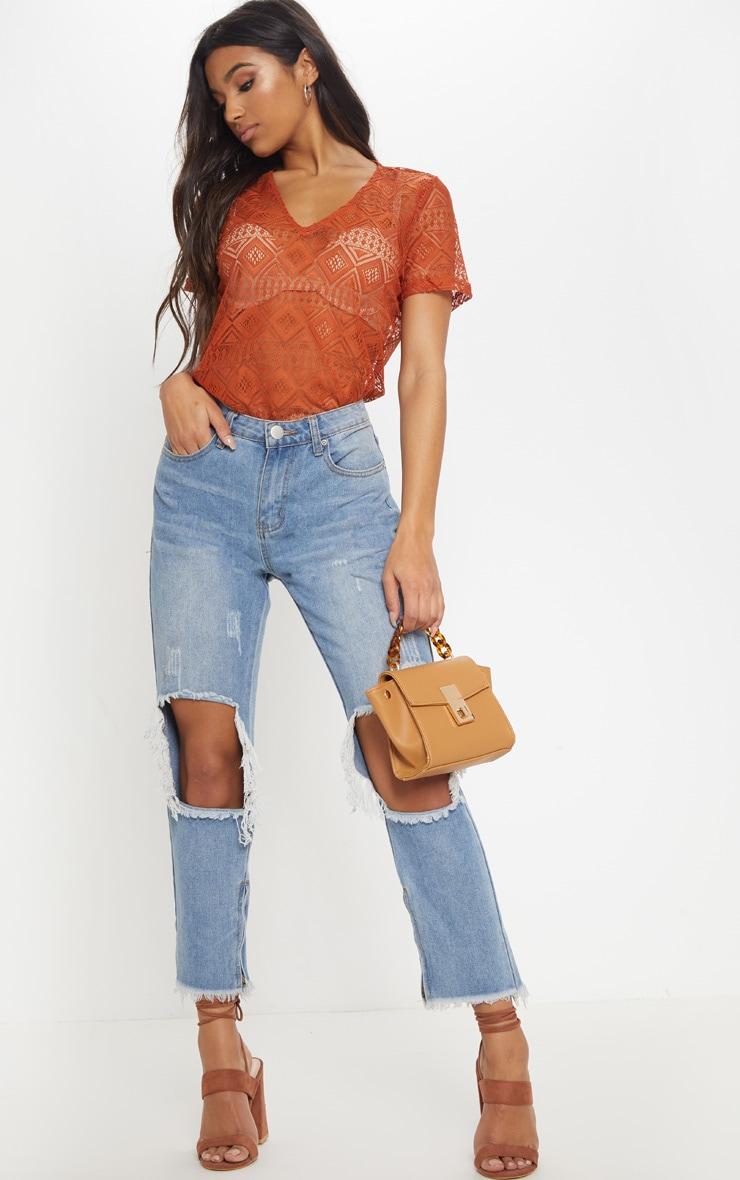 Burnt Orange Cotton Crochet V Neck T-Shirt 4