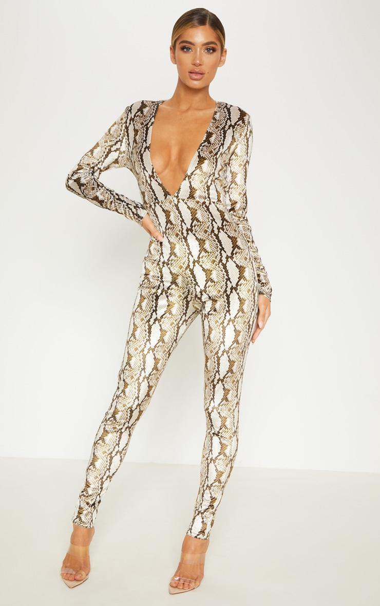 Multi Snake Print Velvet Jumpsuit  1
