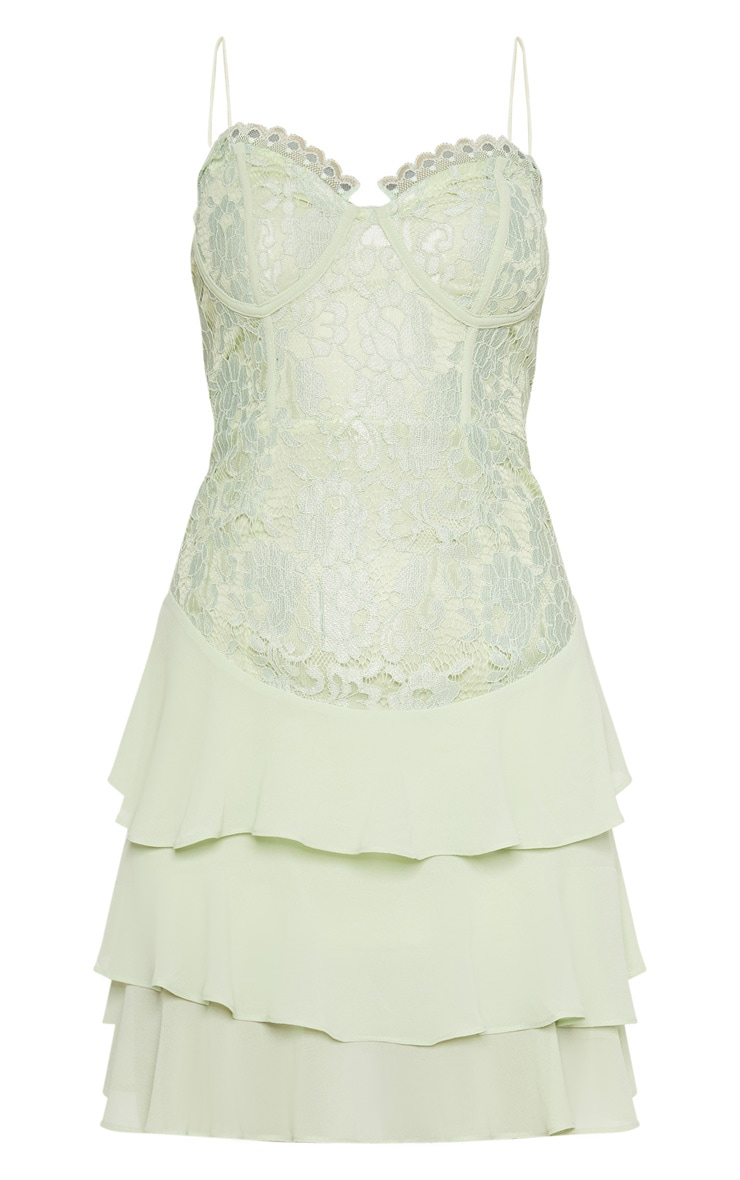 Sage Green Lace Chiffon Tier Skater Dress  3