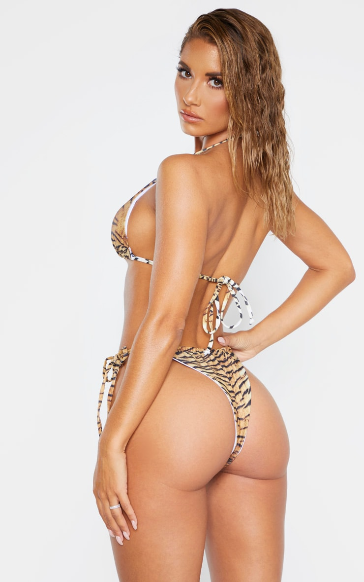 Brown Tiger Adjustable String Tie Padded Triangle Bikini 2