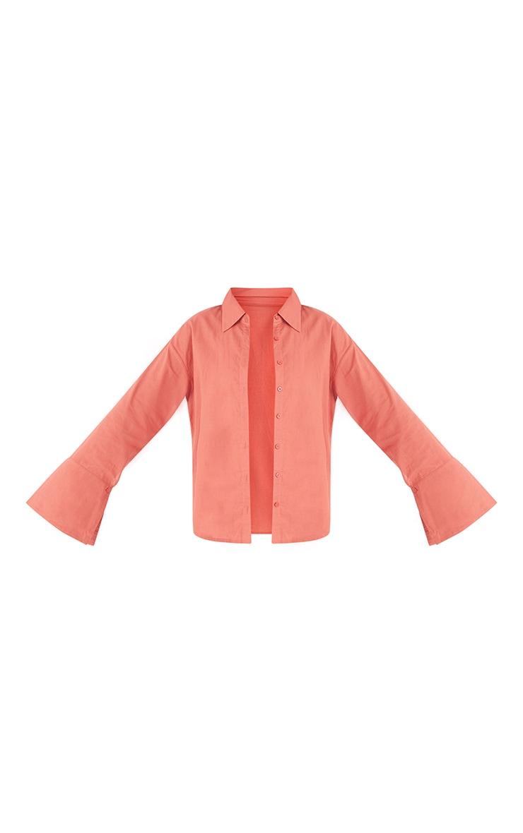Tall Coral Linen Look Wide Sleeve Shirt 5