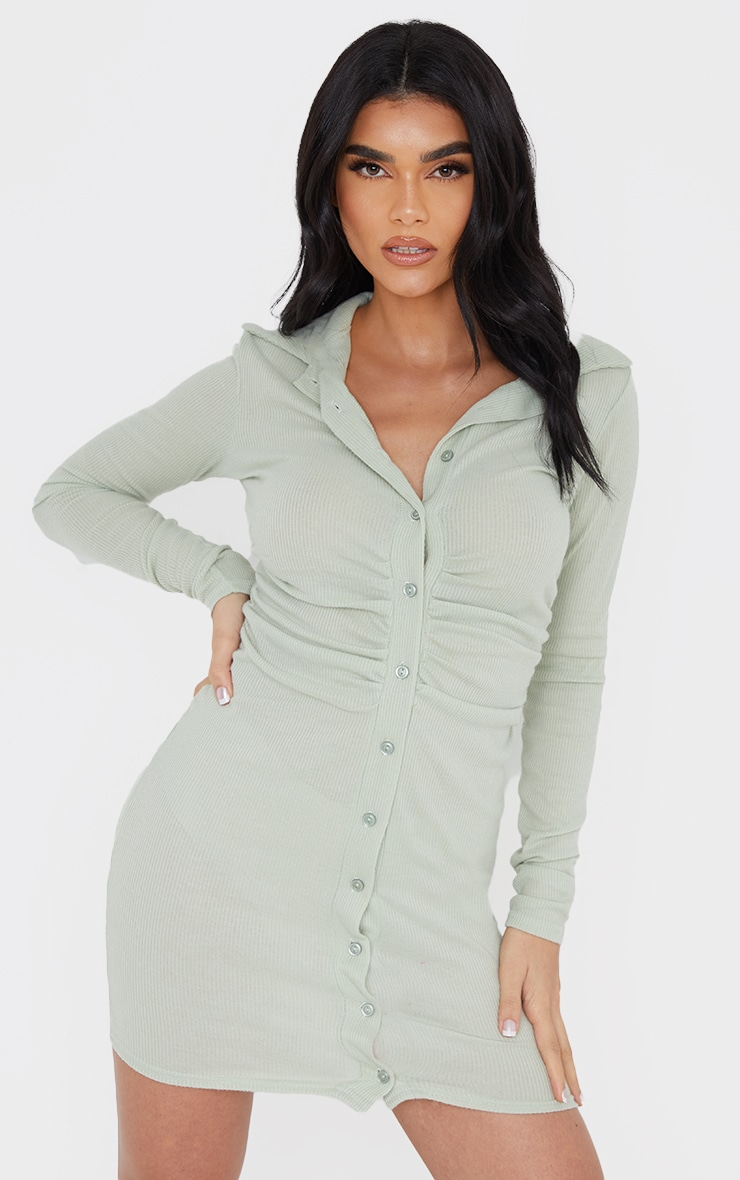Sage Green Brushed Rib Long Sleeve Ruched Shirt Dress