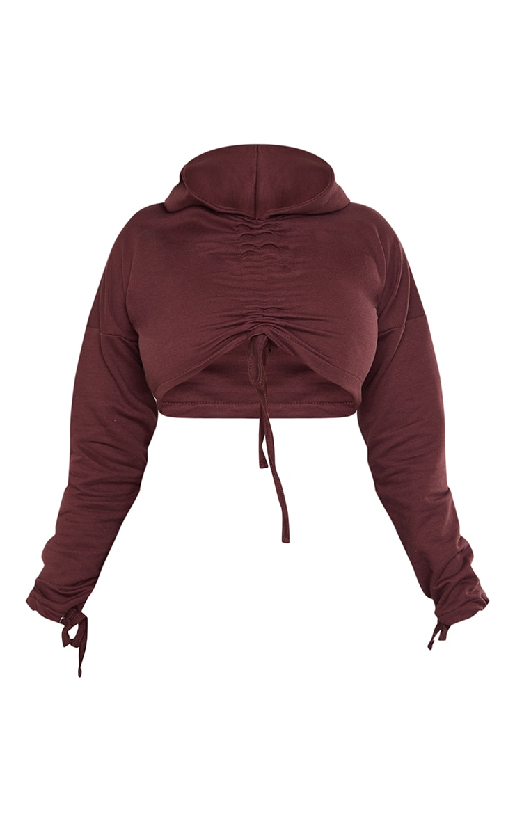 Shape Chocolate Brown Ruched Front Cropped Hoodie 5