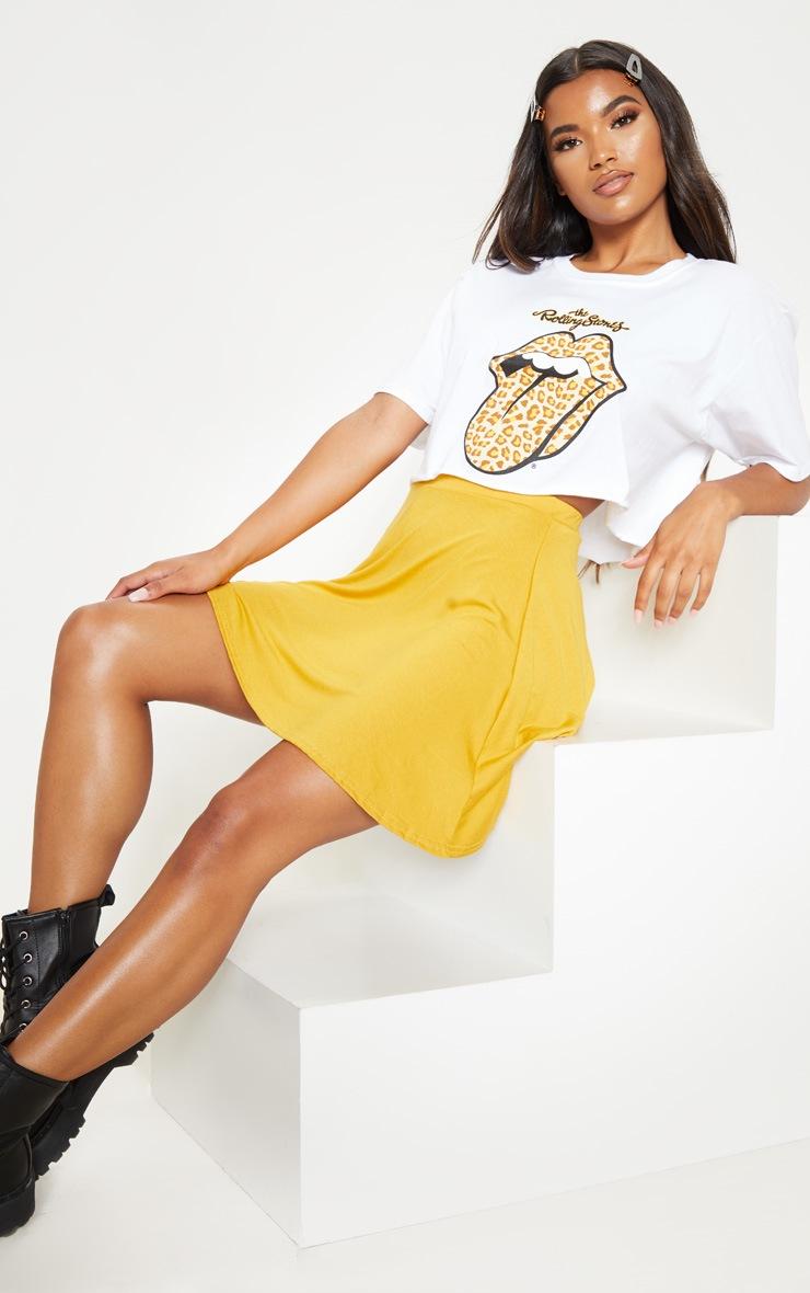 Mustard Basic Jersey Skater Skirt  5