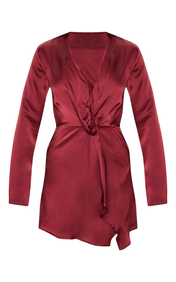 Burgundy Satin Long Sleeve Wrap Dress  3