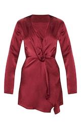 Burgundy Satin Long Sleeve Wrap Dress  3