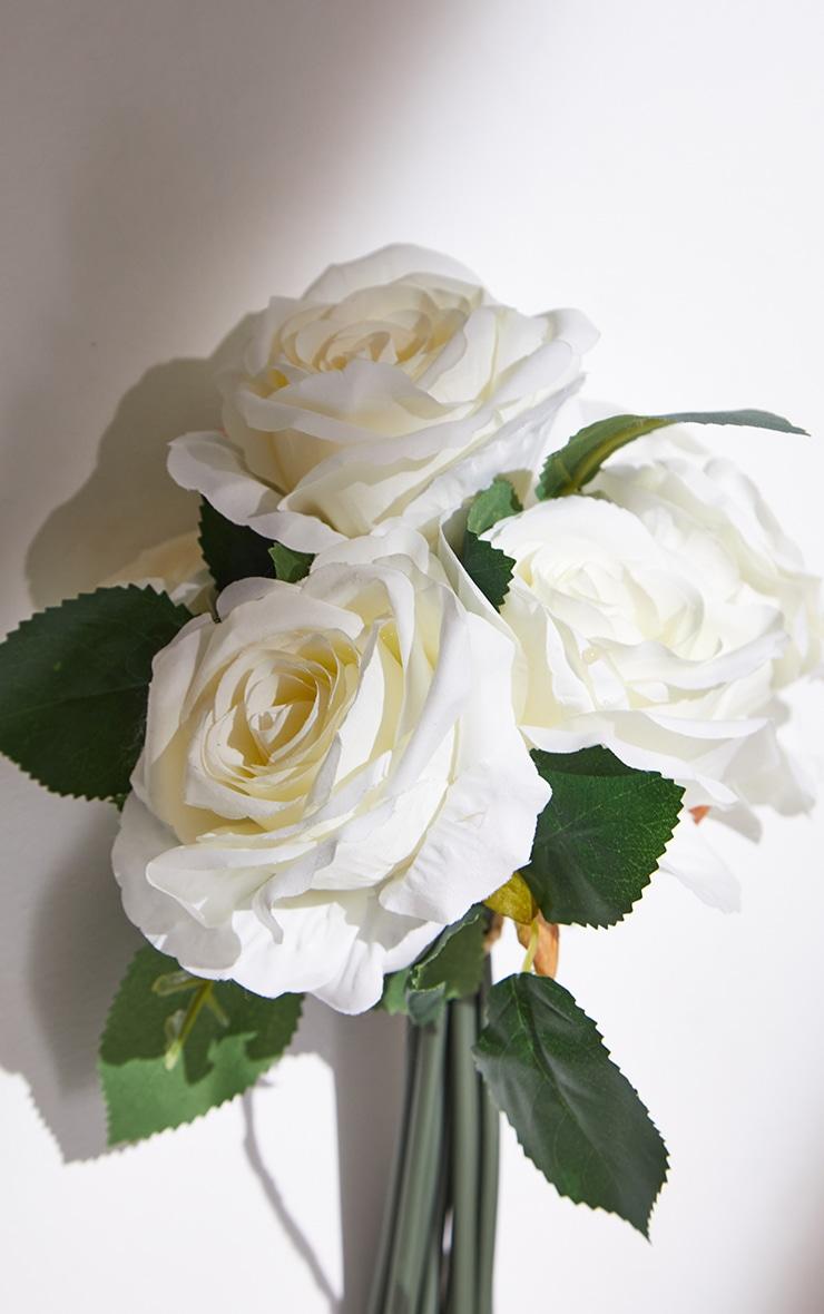 White Silk Eternity Rose Bunch Artificial Flower 5