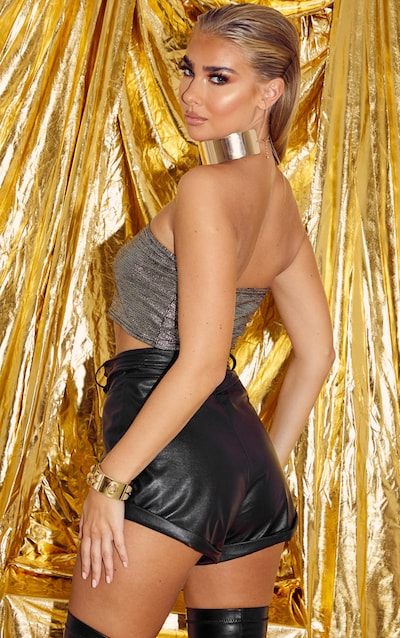 Gold Glitter Ruched Bandeau Top
