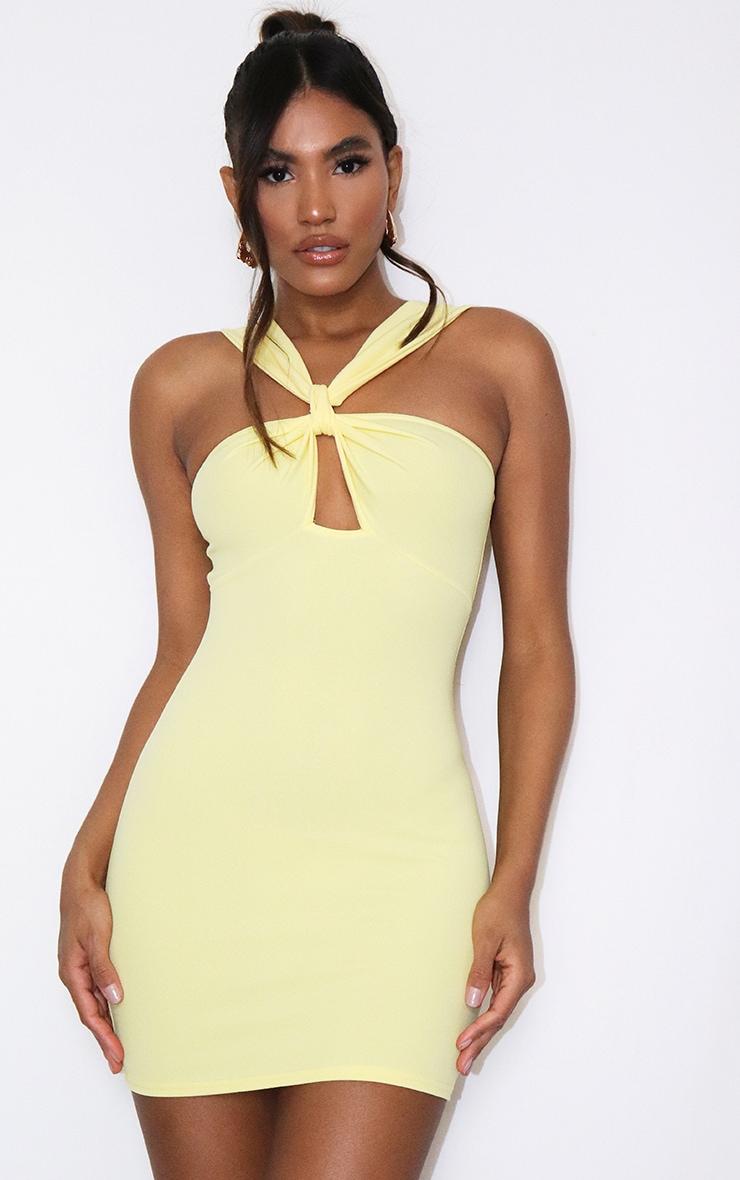 Lemon Bow Detail Cut Out Bodycon Dress 1