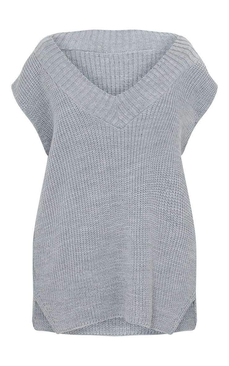Grey V Neck Knitted Side Split Vest 5