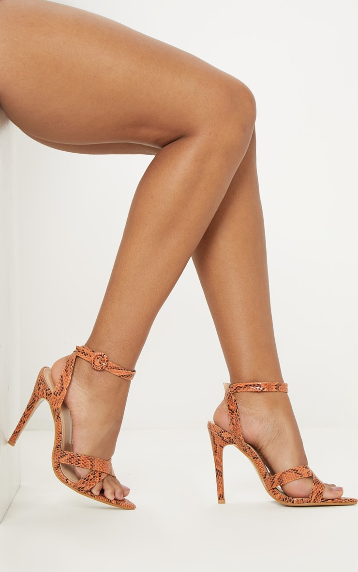 Orange Snake Point Toe Cross Strap Sandal 2