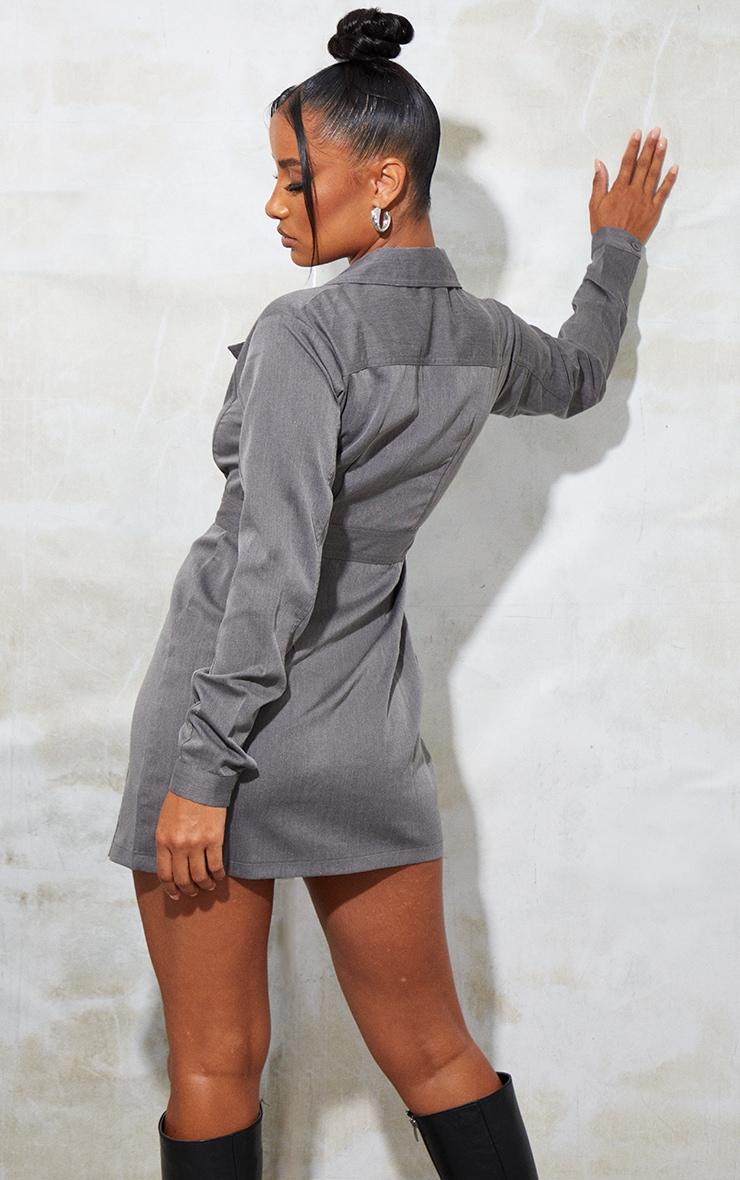 Grey Woven Binding Button Detail Blazer Dress 2
