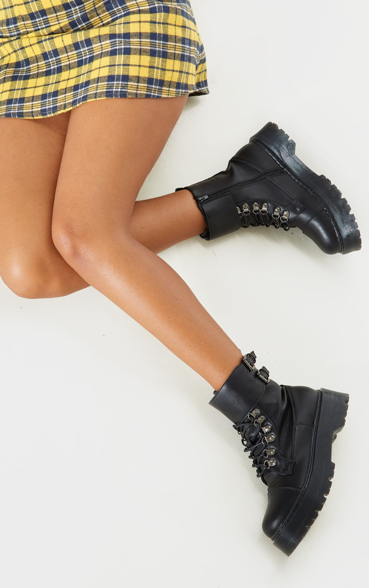 Black Military Chunky Ankle Boot 2